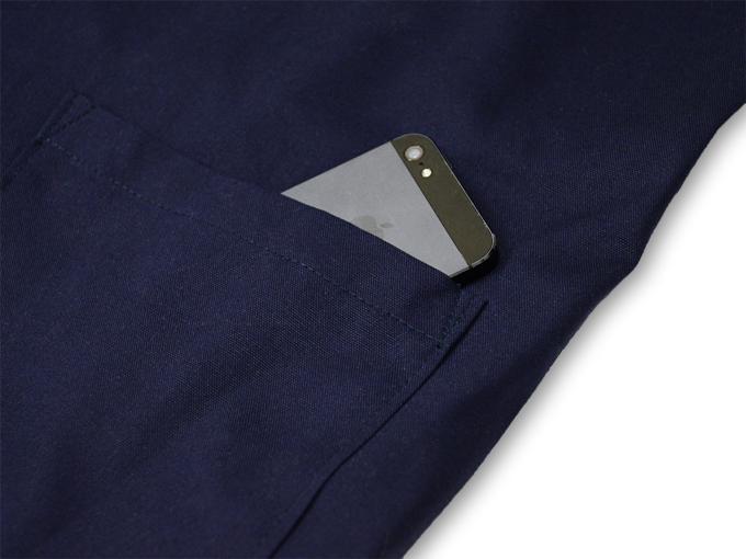 ななこ織作務衣 濃紺 上着ポケット