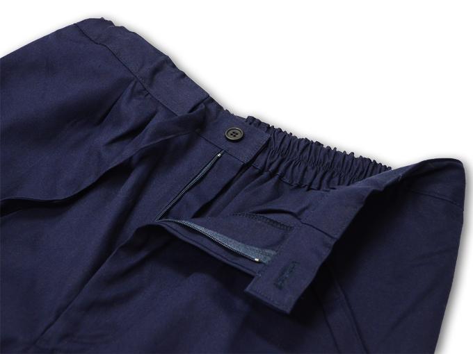 ななこ織作務衣 濃紺 ズボンウエスト部分