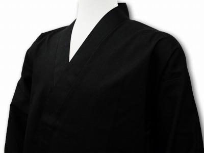 日本製魚子織ゴム袖作務衣黒