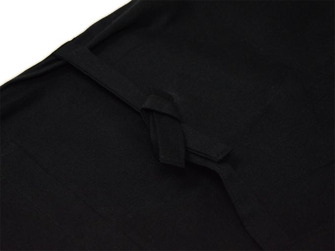 ななこ織作務衣 黒 上着紐部分
