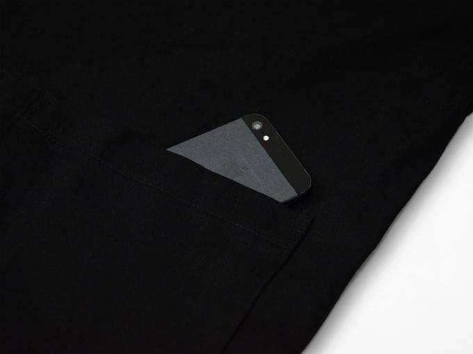 ななこ織作務衣 黒 上着ポケット