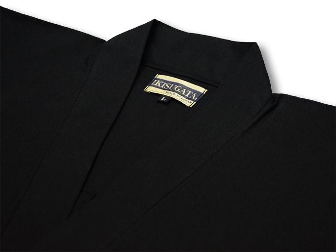 ななこ織作務衣 黒 上着衿部分