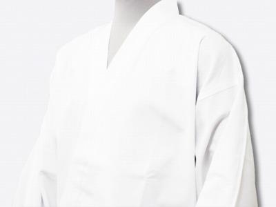 日本製魚子織ゴム袖作務衣白