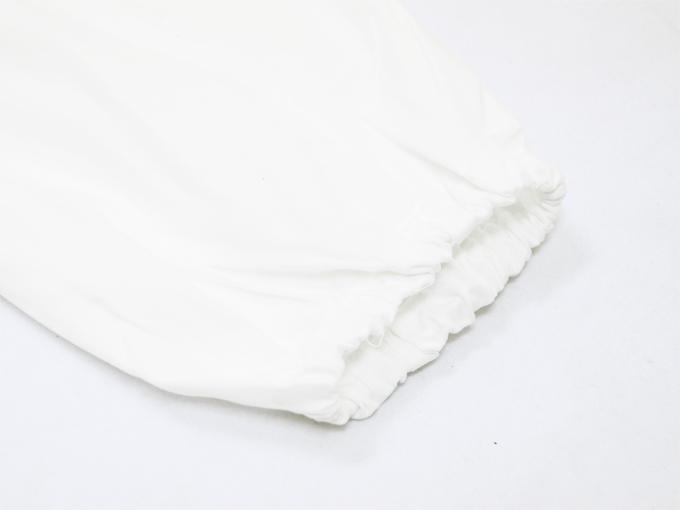 ななこ織作務衣 白 ズボン裾