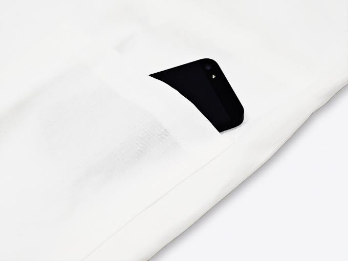 ななこ織作務衣 白上着ポケット