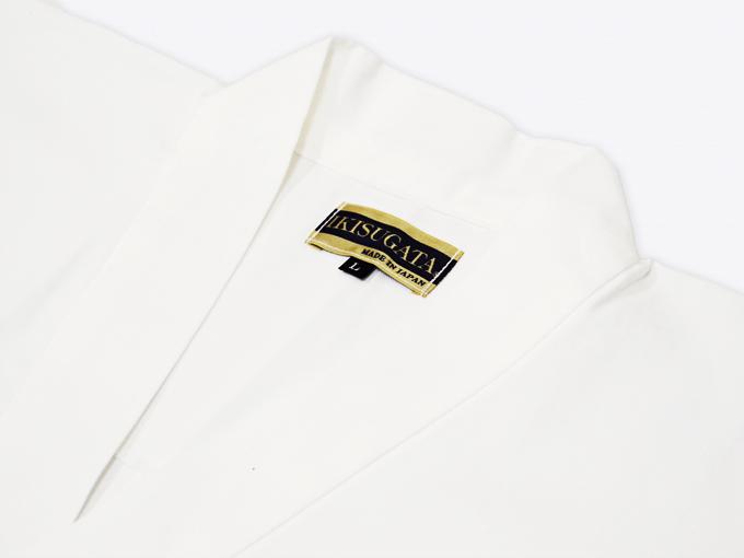 ななこ織作務衣 白上着衿部分