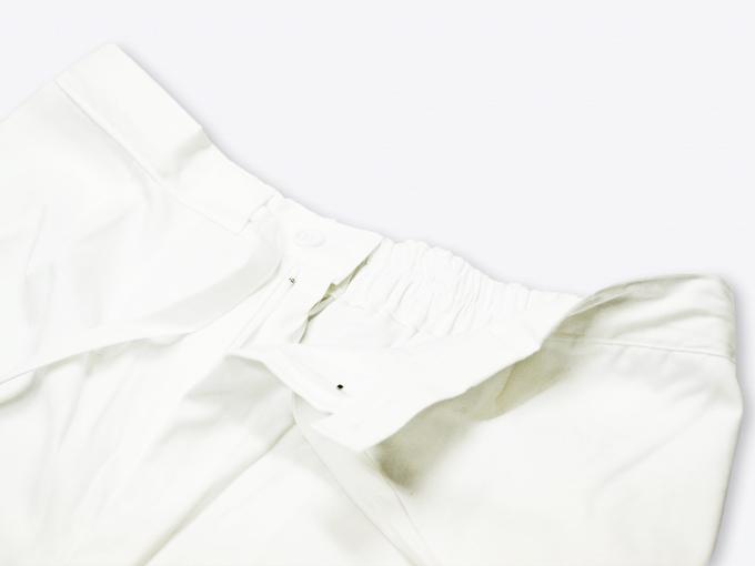 ななこ織作務衣 白 ズボンウエスト部分