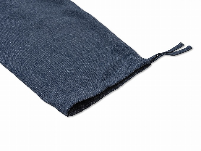 デニムライク・ストレッチ作務衣 ズボン裾紐部分