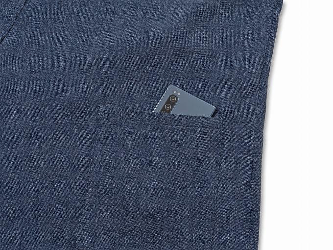 デニムライク・ストレッチ作務衣 上着ポケット部分