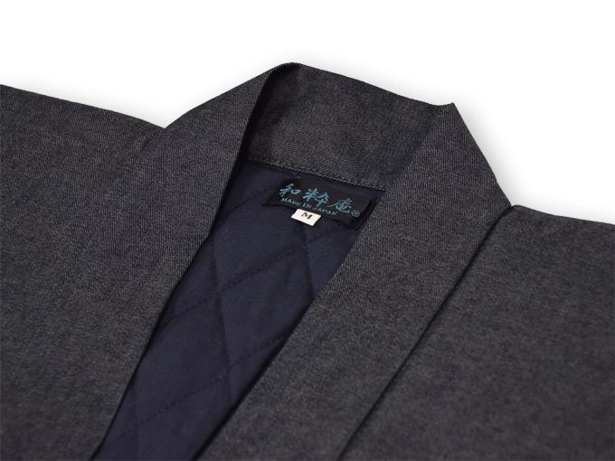 デニム綿入キルト作務衣 【和粋庵】 濃紺 衿部分