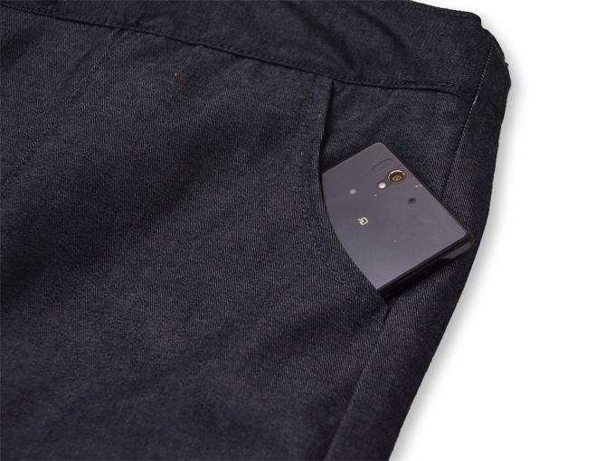 デニム綿入キルト作務衣 【和粋庵】 濃紺 ズボンポケット部分