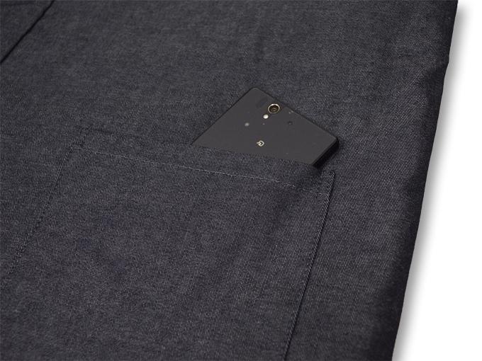 デニム綿入キルト作務衣 【和粋庵】 濃紺 上着ポケット部分