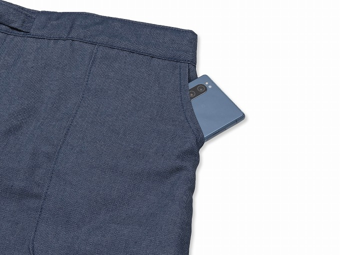 抗ウイルス・デニム綿入れ作務衣 濃紺 ズボンポケット部分