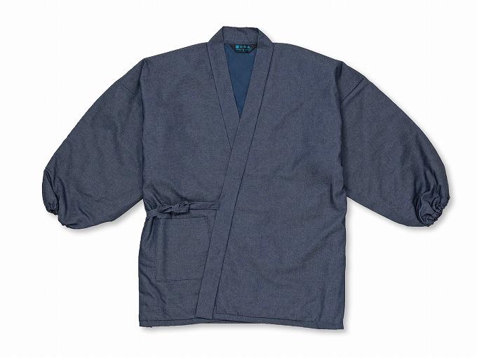 抗ウイルス・デニム綿入れ作務衣 濃紺 上着