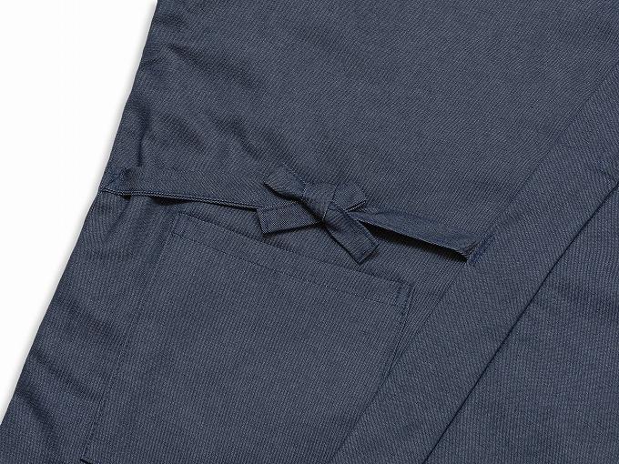 抗ウイルス・デニム綿入れ作務衣 濃紺 上着紐部分