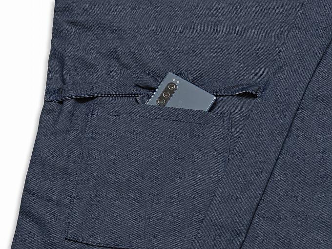 抗ウイルス・デニム綿入れ作務衣 濃紺 上着ポケット部分