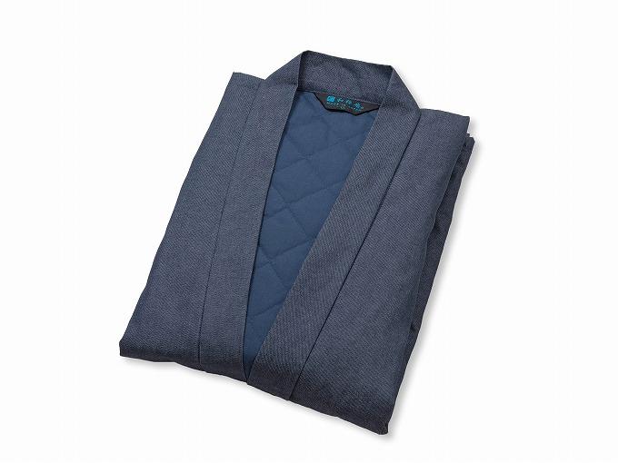抗ウイルス・デニム綿入れ作務衣 濃紺 畳んだ状態