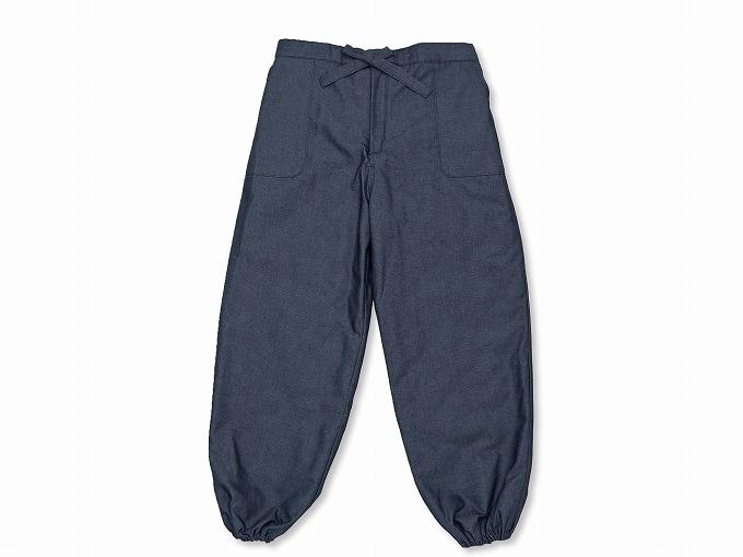 抗ウイルス・デニム綿入れ作務衣 濃紺 ズボン