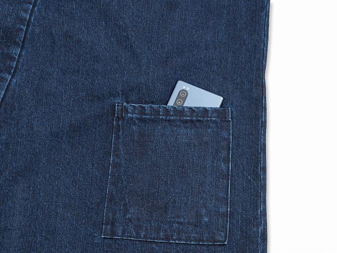 カイハラデニム・11オンス バイオウォッシュ作務衣 日本製 紐部分
