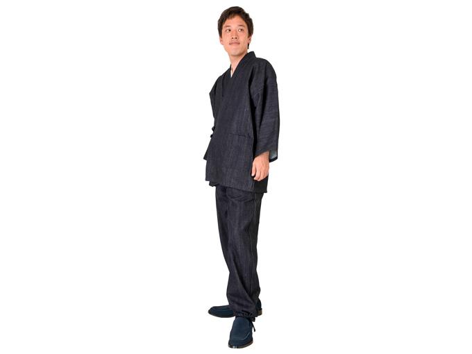 カイハラデニム作務衣 日本製 着用写真