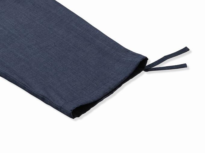 カイハラデニム・6オンス作務衣  日本製 ズボン裾部分