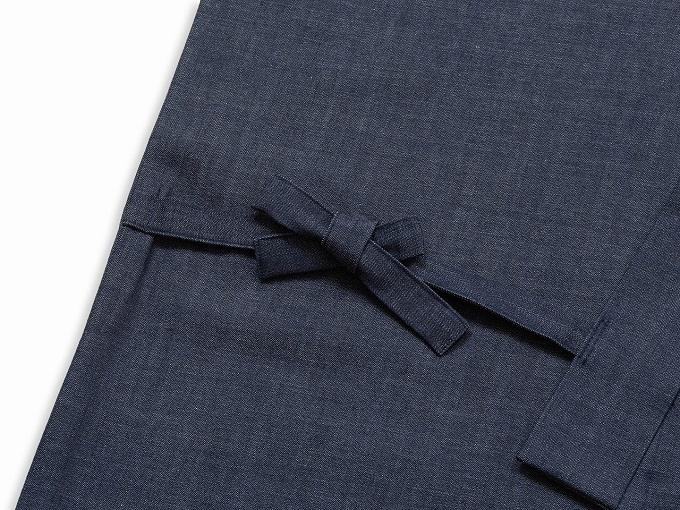 カイハラデニム・6オンス作務衣  日本製 上着紐部分