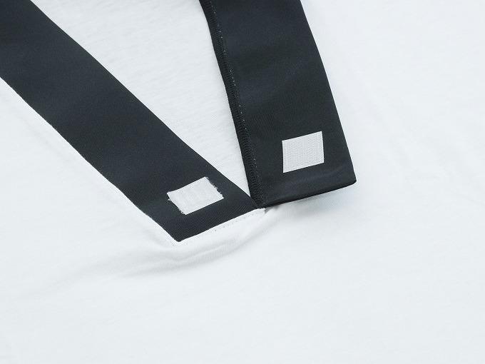 作務衣用Tシャツ半襦袢 NO.3 黒 衿元 マジックテープ仕様