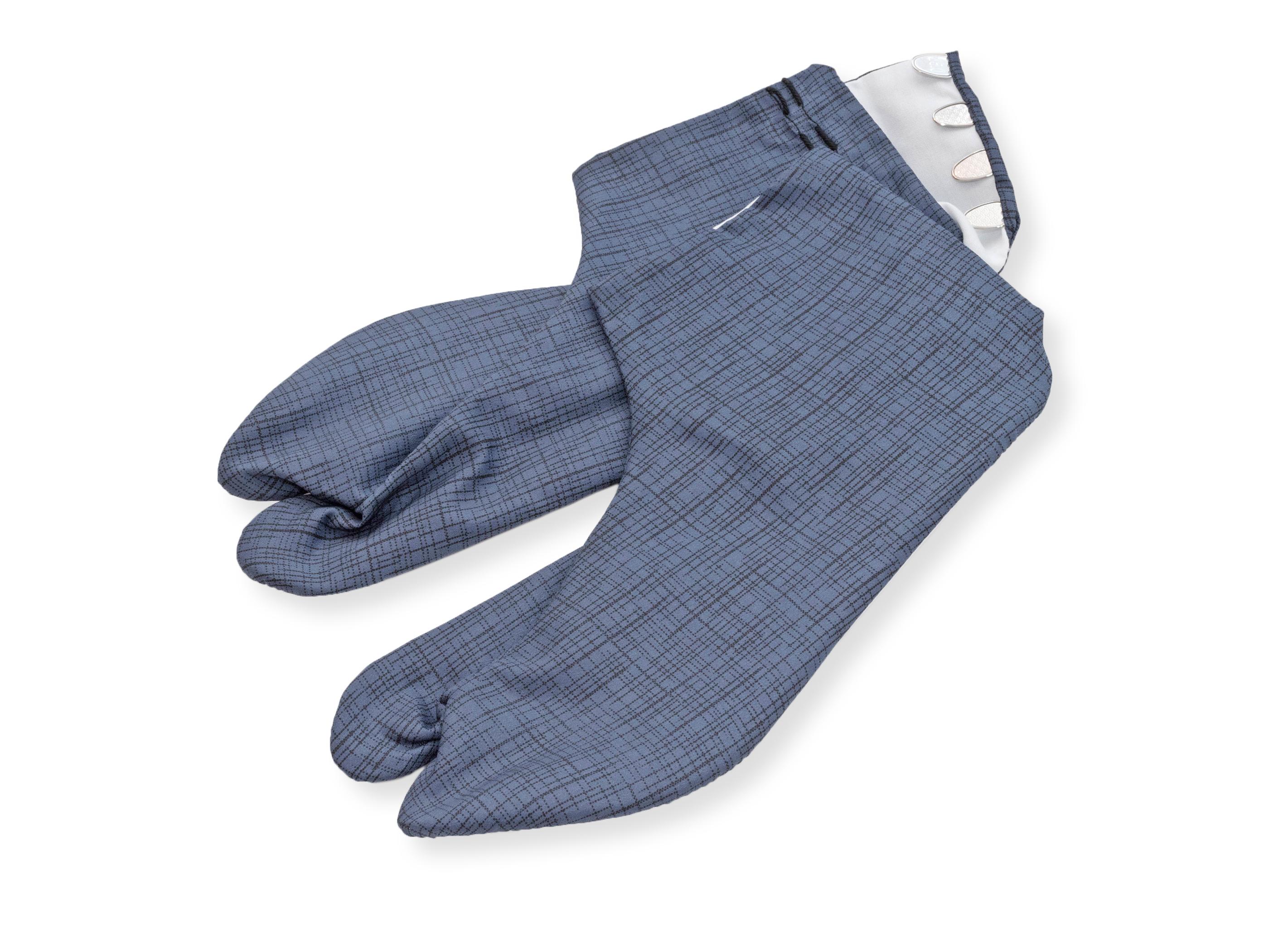 男漢 色木綿 柄足袋 青格子