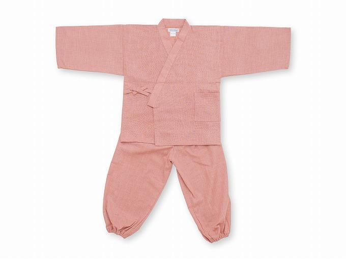 子供用絣紬作務衣 ピンク 上下写真