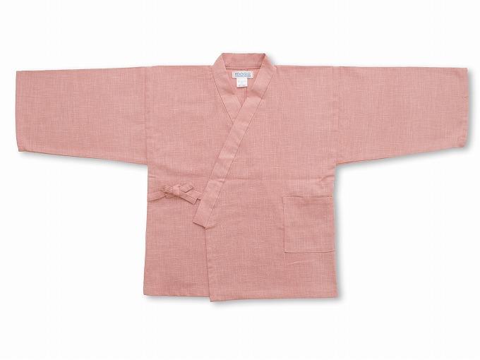 子供用絣紬作務衣 ピンク 上着