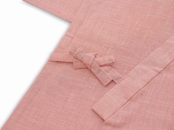 子供用絣紬作務衣 ピンク 上着紐