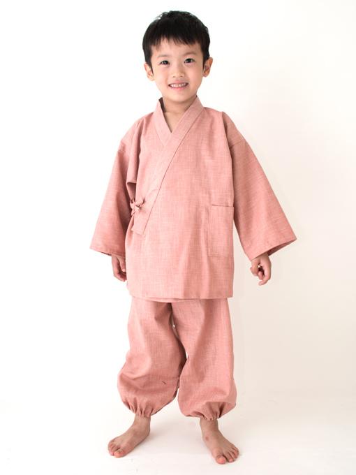 子供用絣紬作務衣 ピンク
