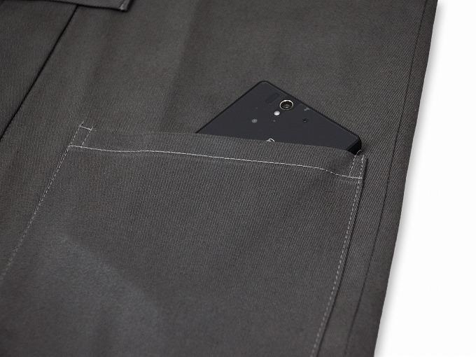 作務衣用羽織(綾織)グレー ポケット部分
