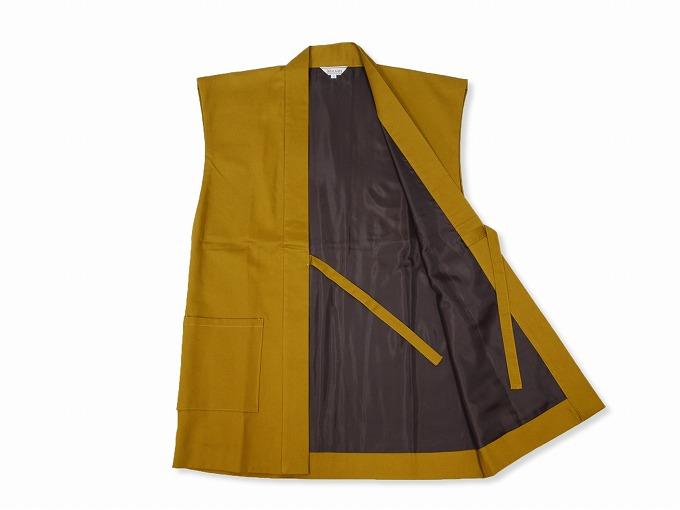 作務衣用羽織(綾織)金茶 内側部分