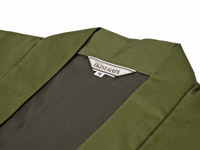 作務衣用羽織(綾織)モスグリーン 衿部分