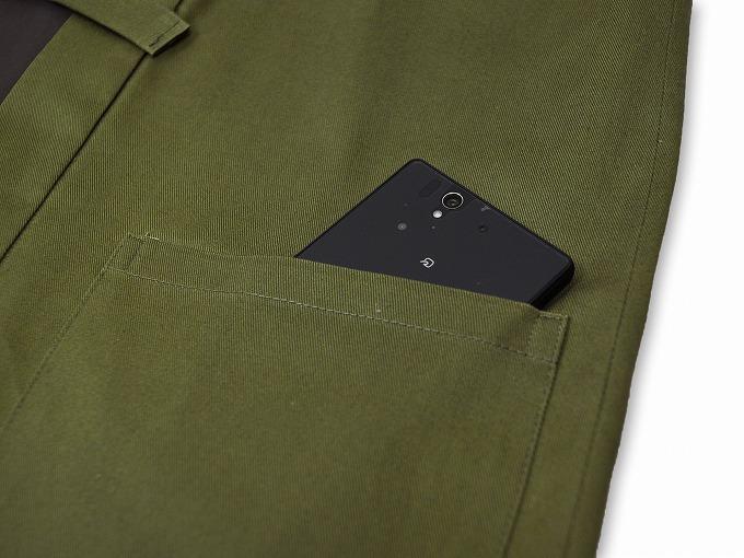 作務衣用羽織(綾織)モスグリーン 緑 ポケット部分