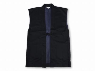 作務衣用羽織(綾織)黒-ブラック