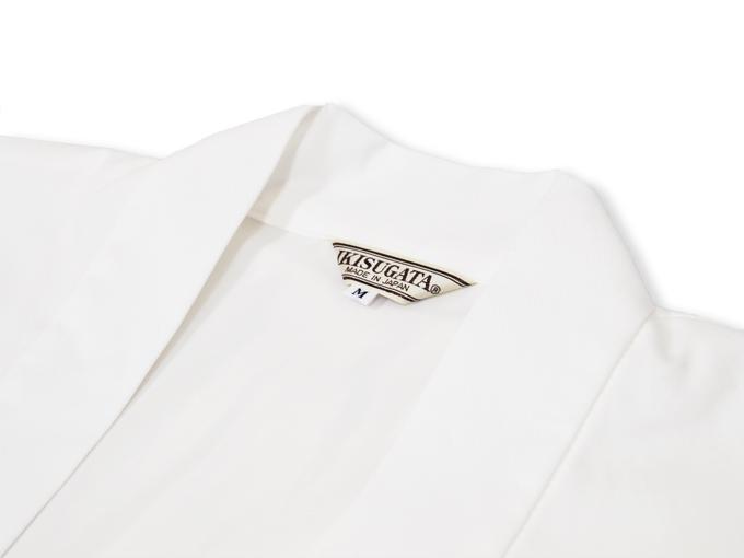 作務衣用羽織(綾織)白(ホワイト) 衿部分