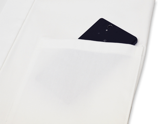 作務衣用羽織(綾織)白(ホワイト) ポケット部分