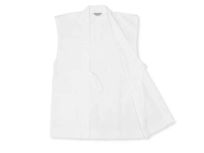 作務衣用羽織(綾織)白(ホワイト) 内側部分