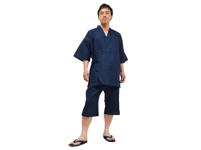 綿麻楊柳甚平(日本製) 濃紺 全身着用写真