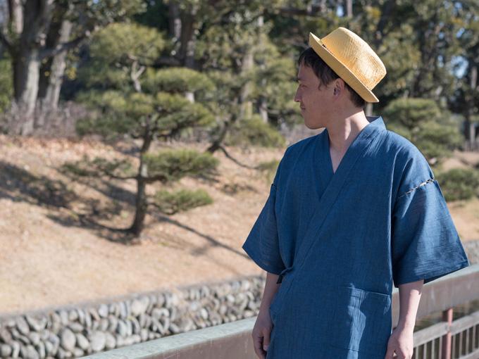 綿麻楊柳甚平(日本製) 中紺 イメージ写真