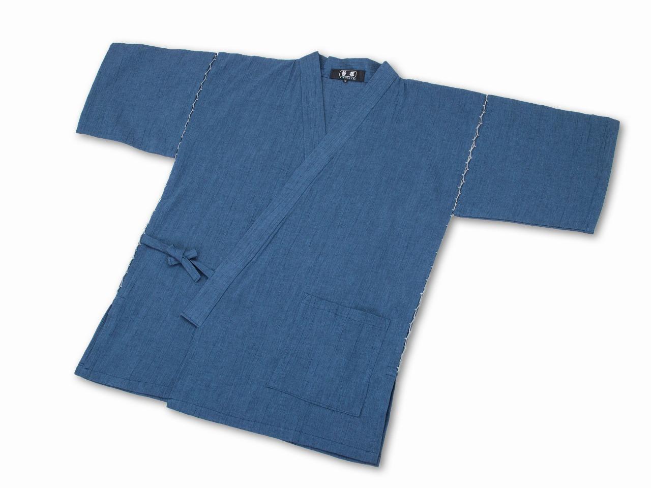 綿麻楊柳甚平(日本製) 中紺 上着