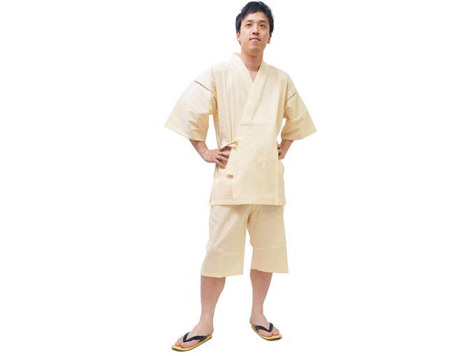 綿麻楊柳甚平(日本製) ベージュ 全身着用写真