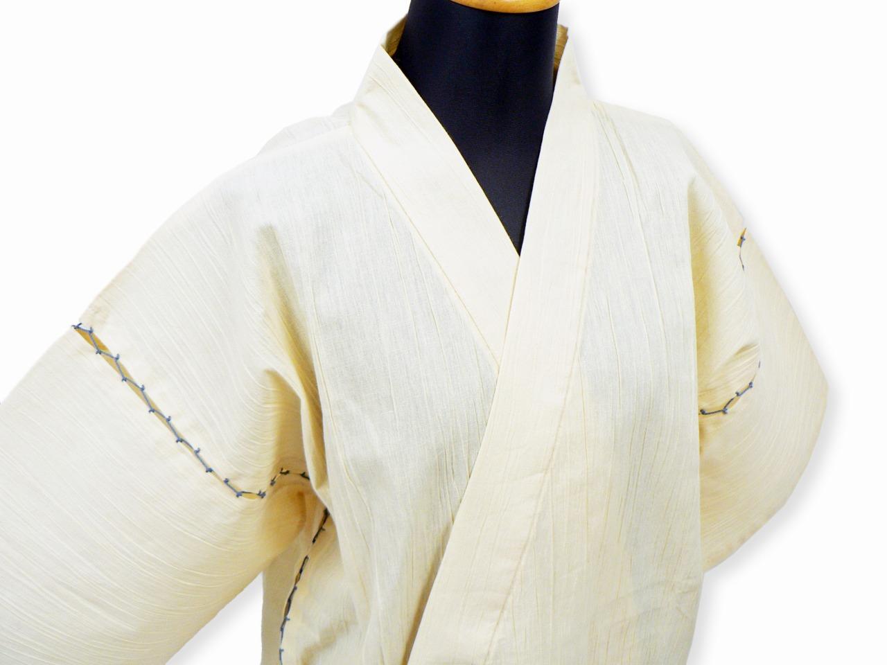綿麻楊柳甚平(日本製) ベージュ マネキン着用