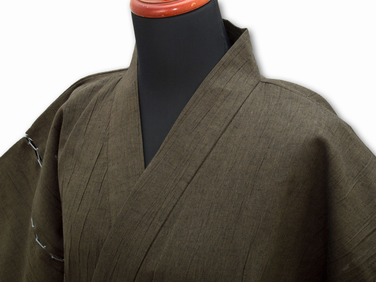綿麻楊柳甚平(日本製) 茶 マネキン着用