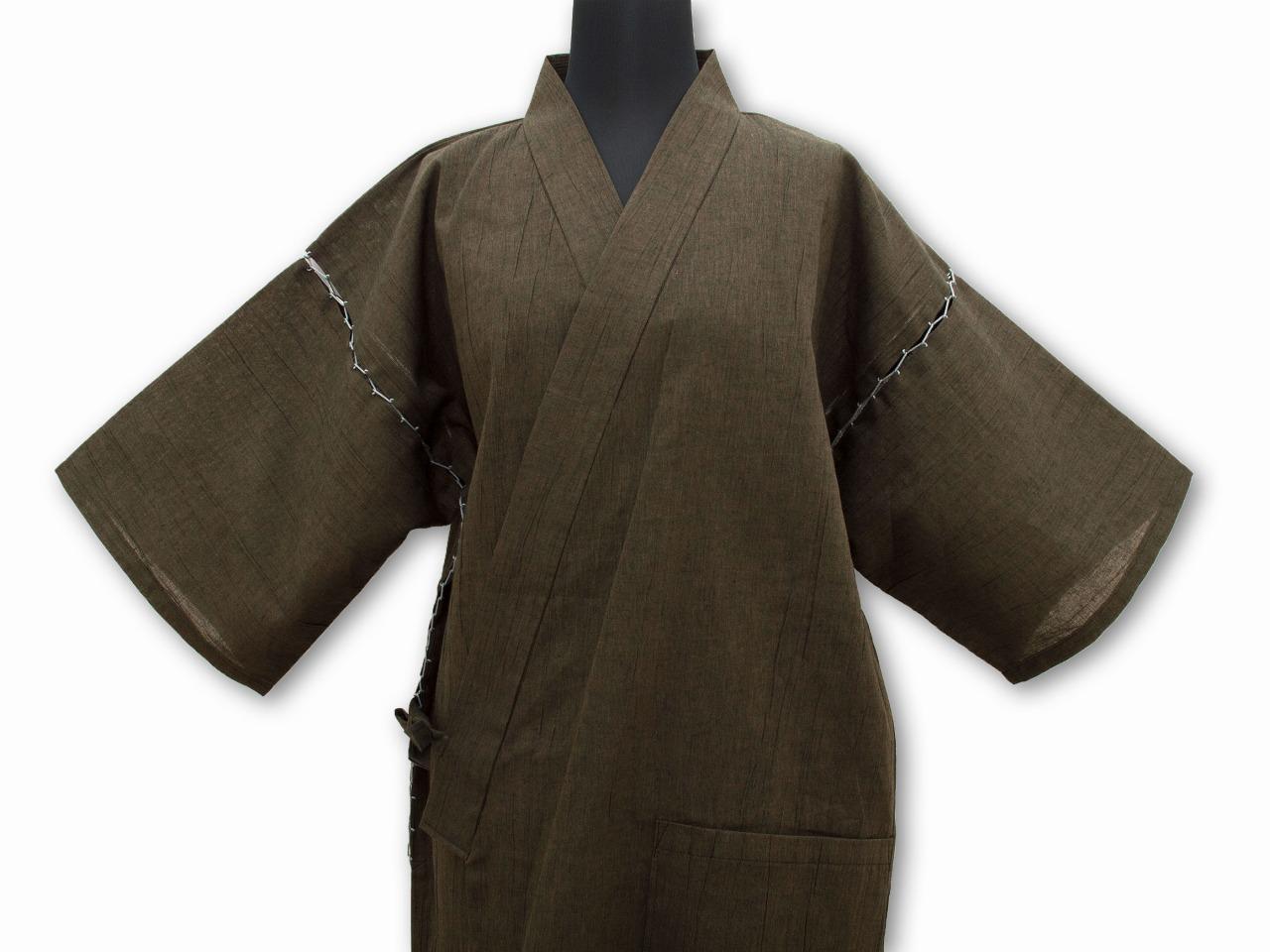 綿麻楊柳甚平(日本製) 茶 上着全体