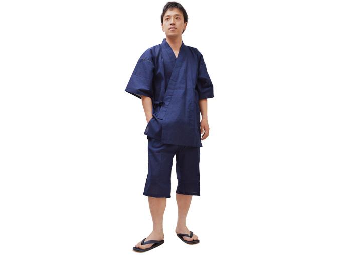 綿しじら甚平(日本製) 濃紺 全身着用写真