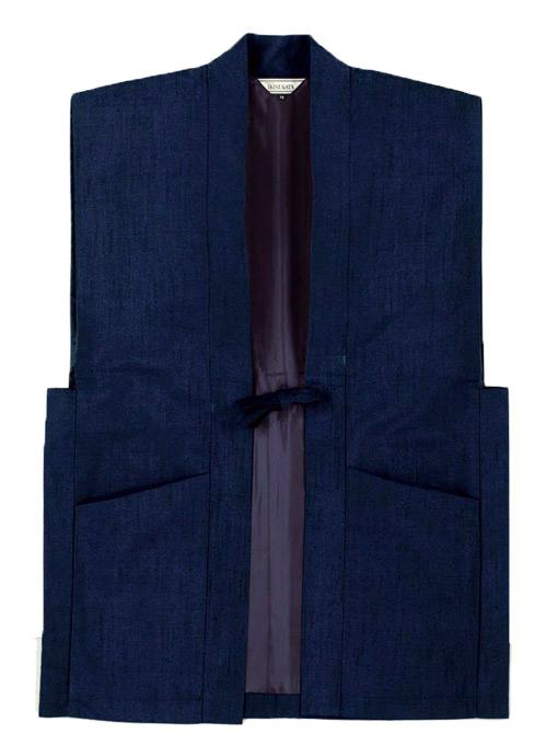 日本製 正絹作務衣 1番色 紺(M,L)シルク