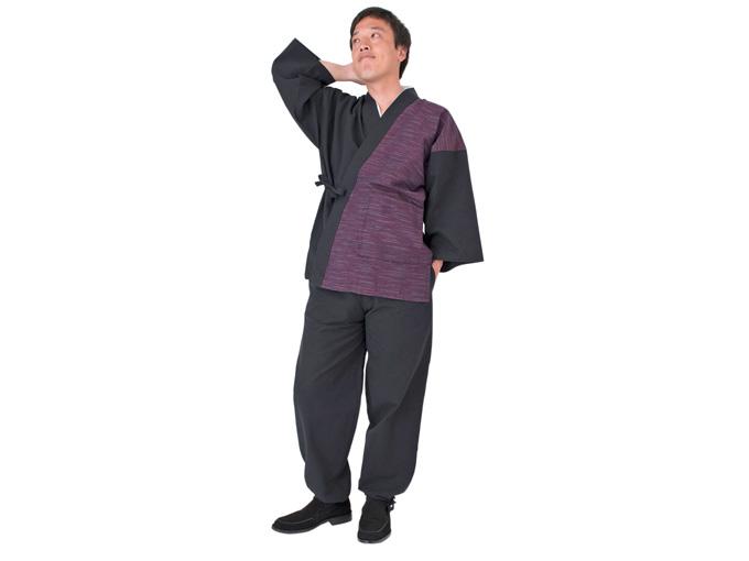 よこ絣デザイン作務衣
